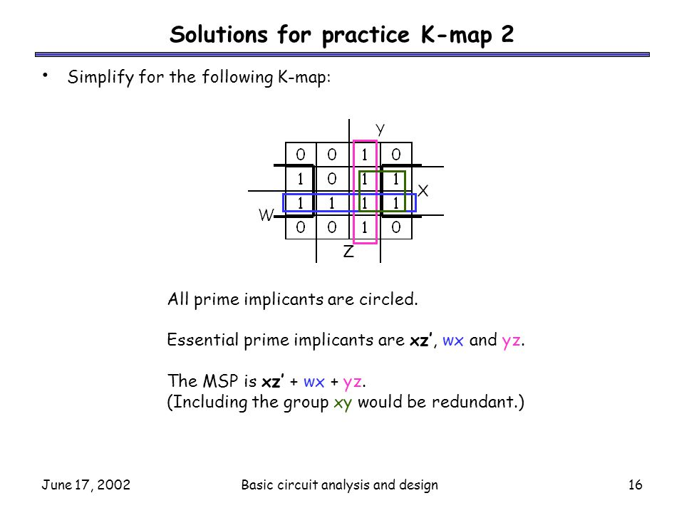 Solutions for practice K-map 2