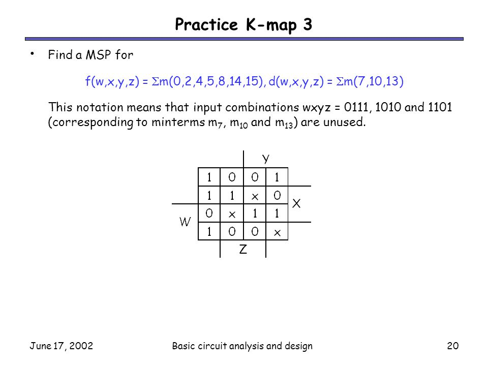 Practice K-map 3 Find a MSP for
