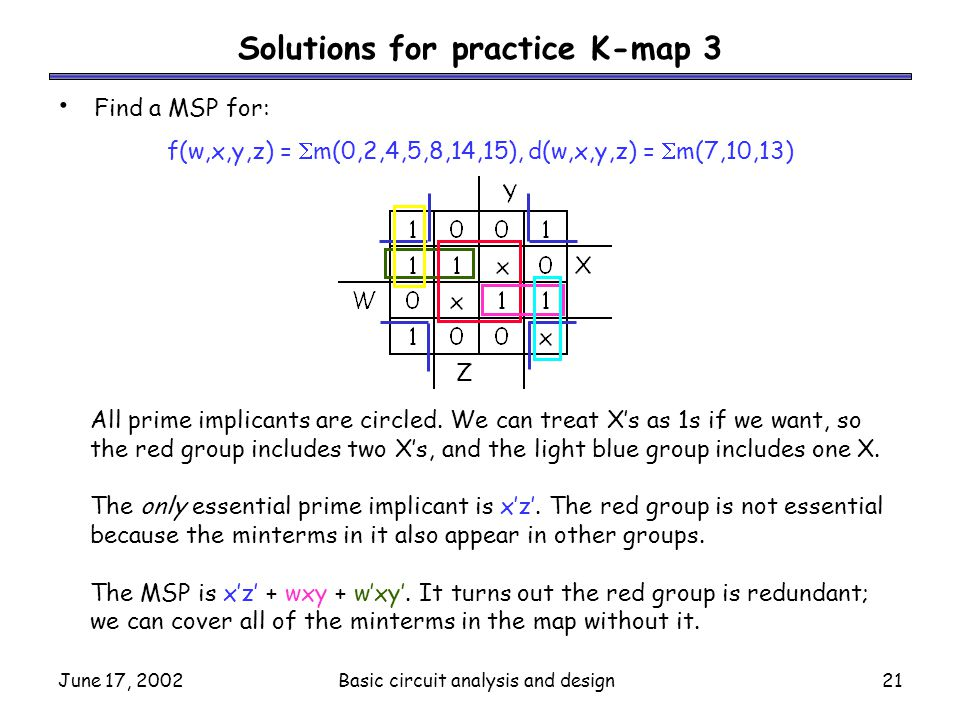 Solutions for practice K-map 3