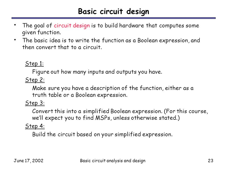 Basic circuit analysis and design