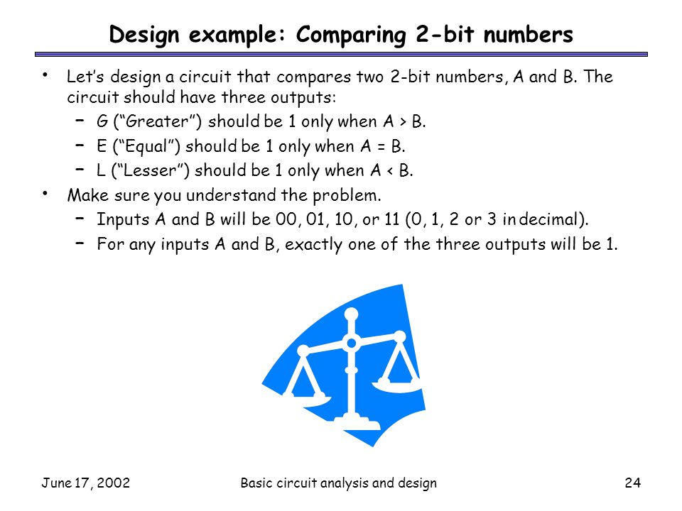 Design example: Comparing 2-bit numbers