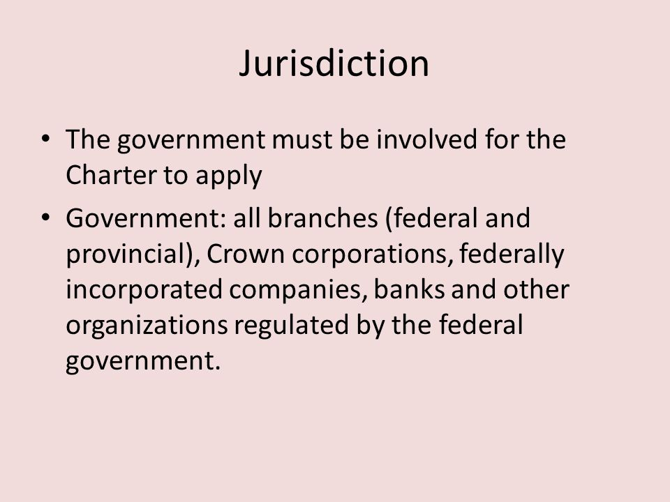 Jurisdiction The government must be involved for the Charter to apply