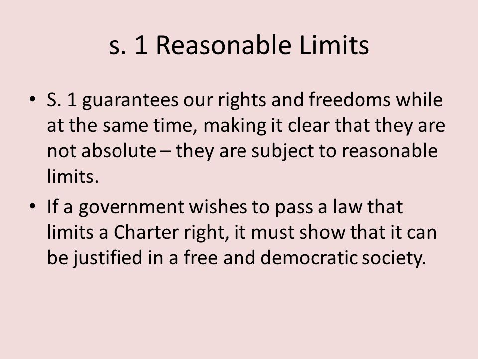 s. 1 Reasonable Limits