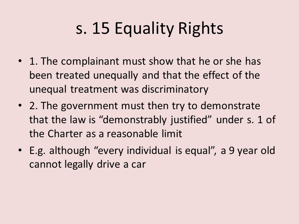 s. 15 Equality Rights