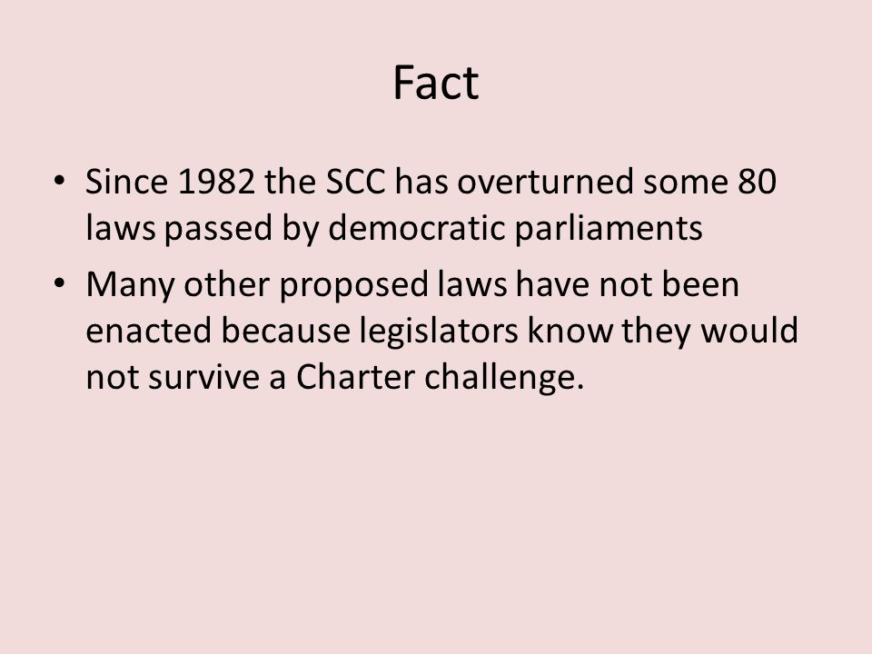 Fact Since 1982 the SCC has overturned some 80 laws passed by democratic parliaments.