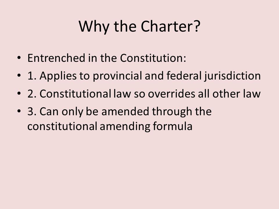 Why the Charter Entrenched in the Constitution: