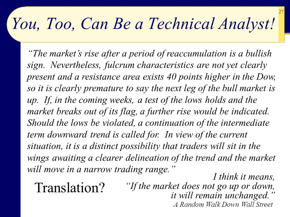 You, Too, Can Be a Technical Analyst!