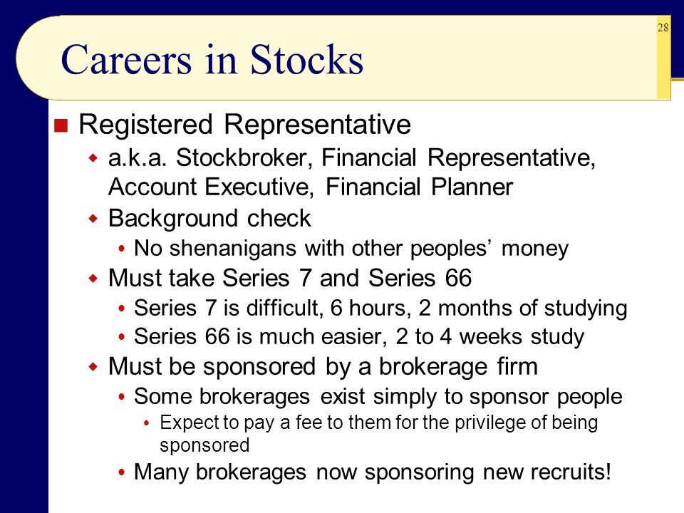 Careers in Stocks Registered Representative