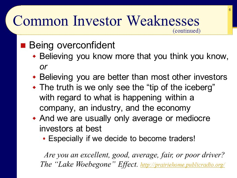 Common Investor Weaknesses