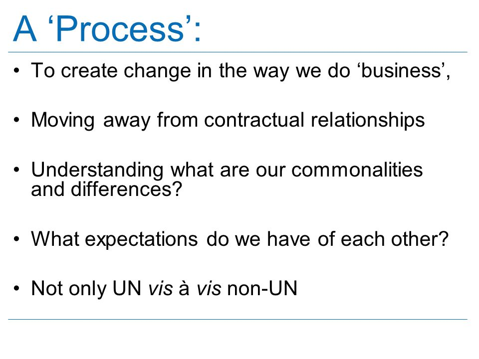 A 'Process': To create change in the way we do 'business',