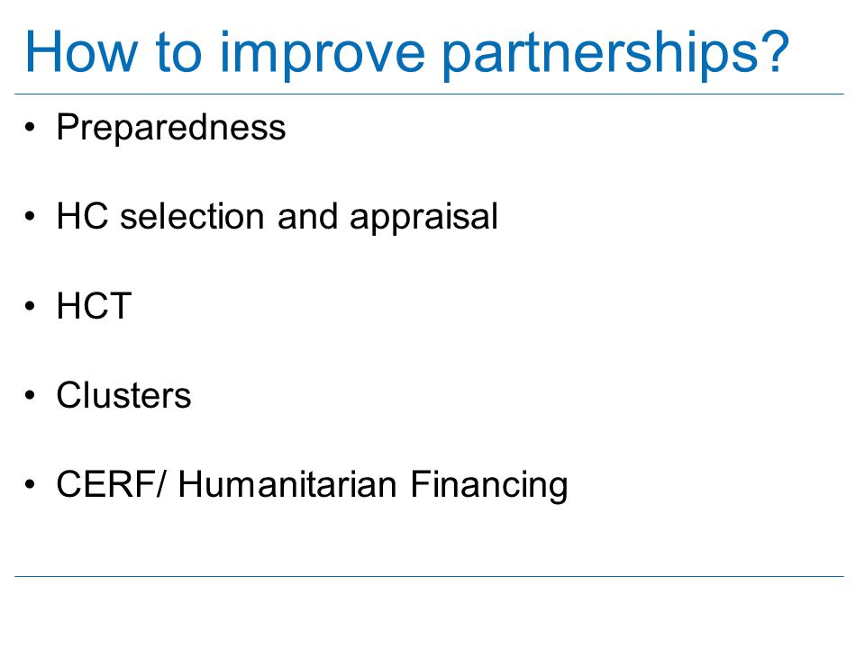 How to improve partnerships