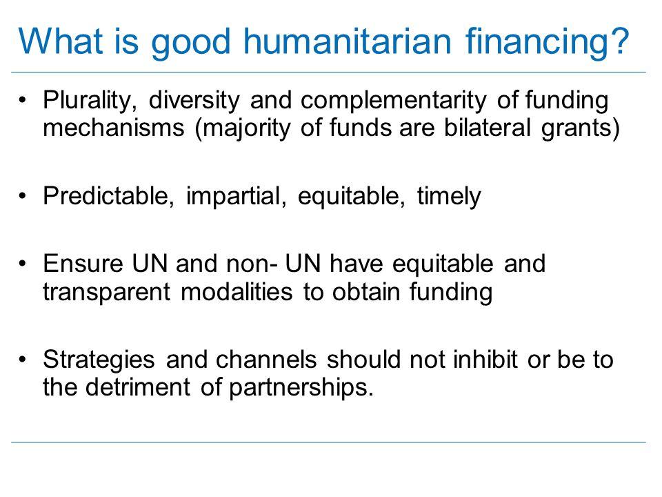 What is good humanitarian financing