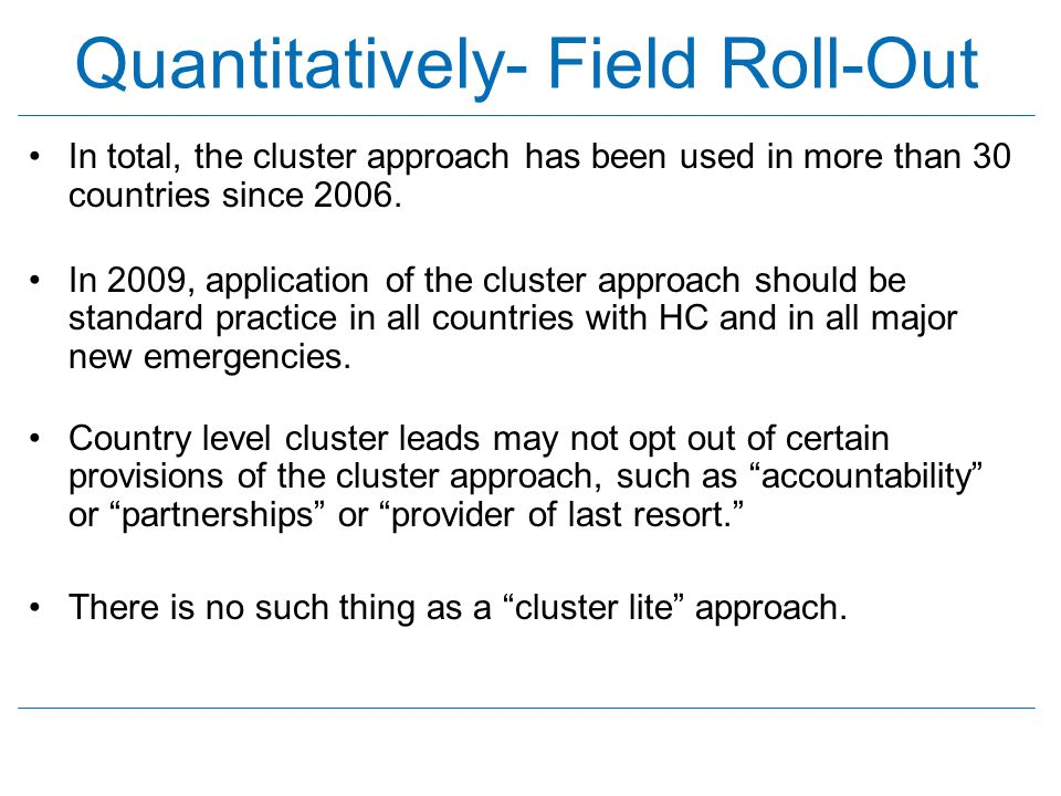 Quantitatively- Field Roll-Out
