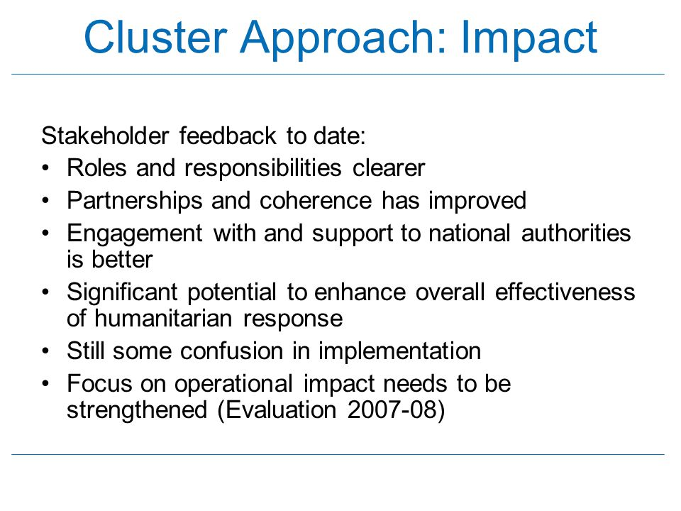 Cluster Approach: Impact