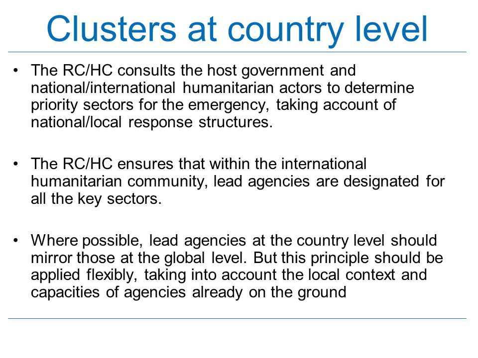 Clusters at country level