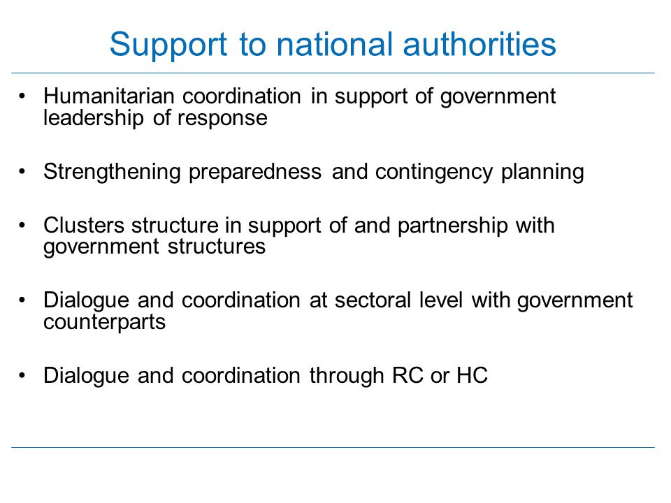 Support to national authorities