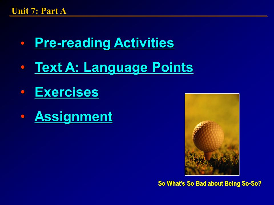 Text A: Language Points Exercises Assignment