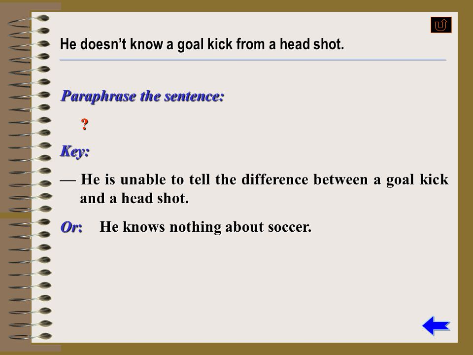 He doesn't know a goal kick from a head shot.