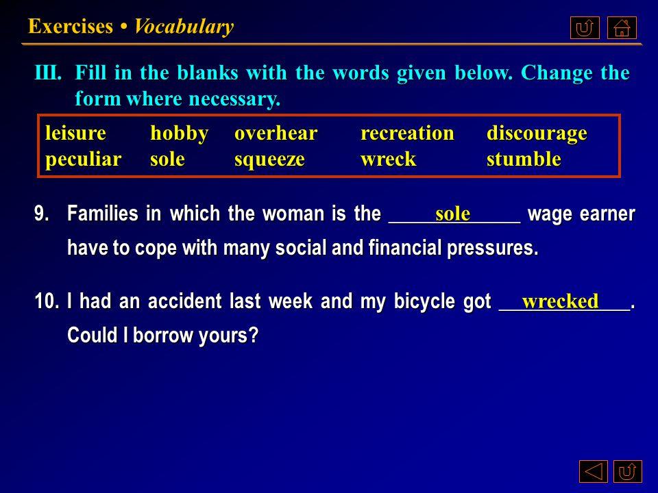 Exercises • Vocabulary