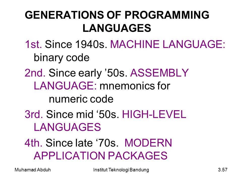 GENERATIONS OF PROGRAMMING LANGUAGES