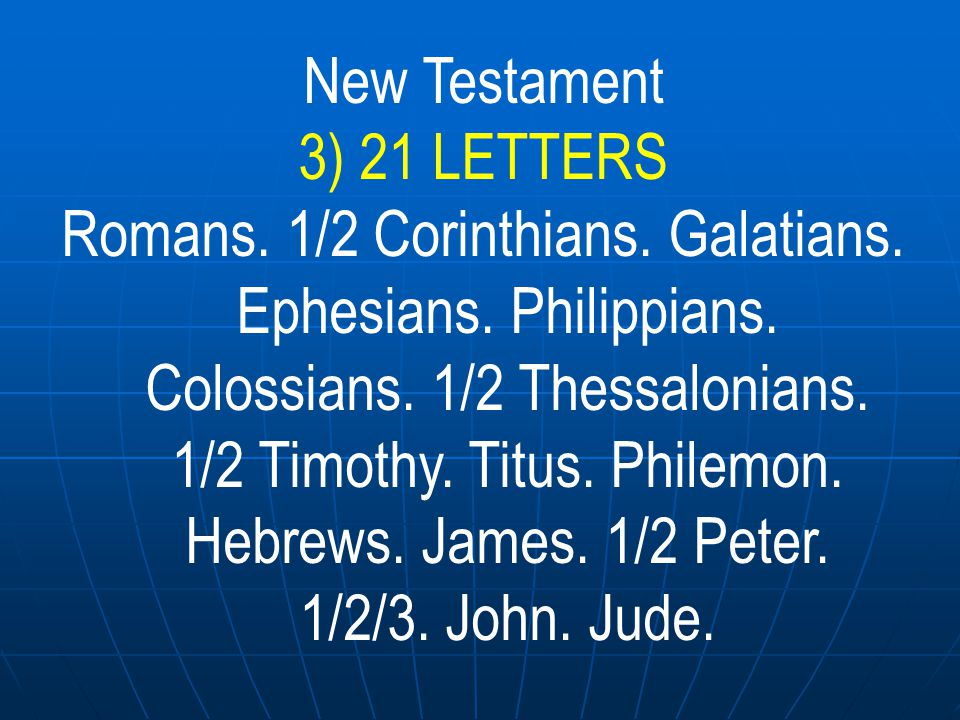 New Testament 3) 21 LETTERS.