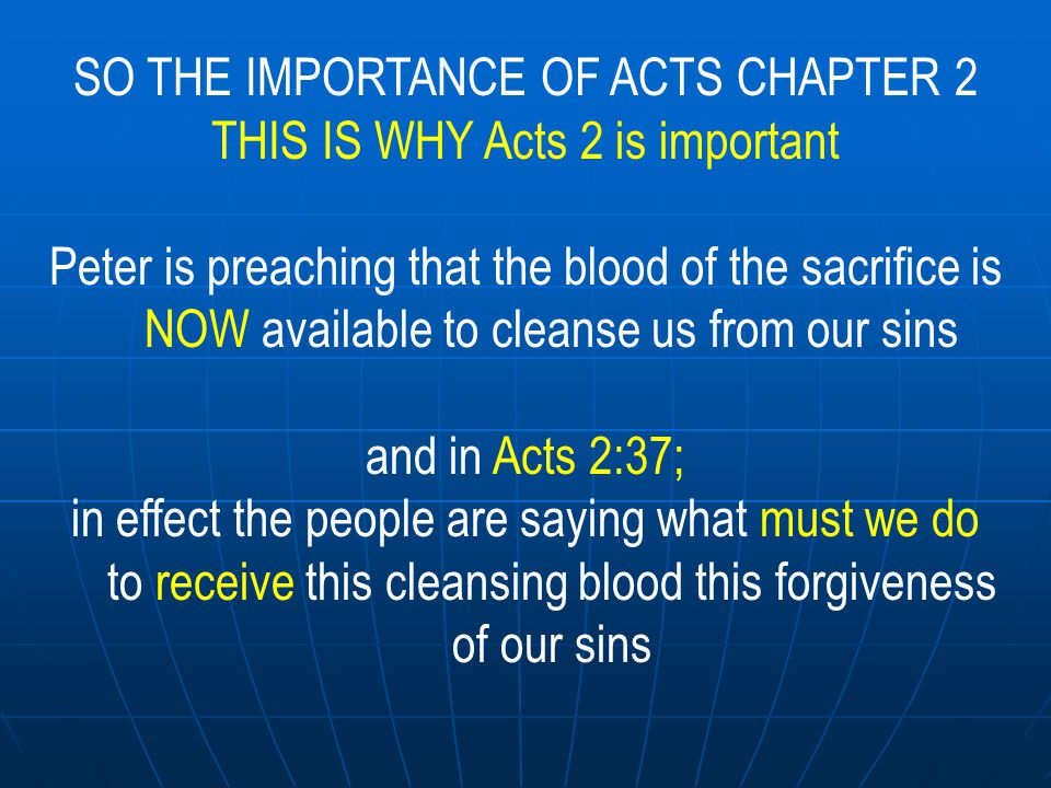 SO THE IMPORTANCE OF ACTS CHAPTER 2 THIS IS WHY Acts 2 is important