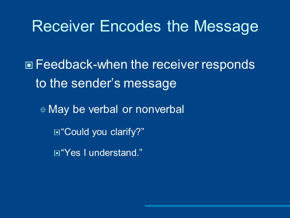 Receiver Encodes the Message