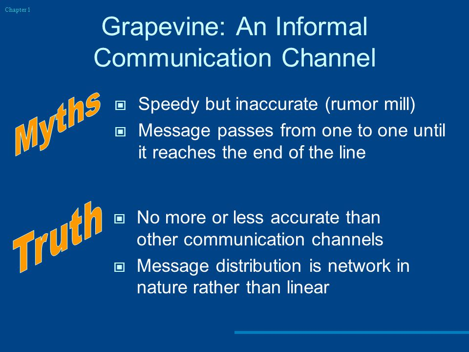 Grapevine: An Informal Communication Channel