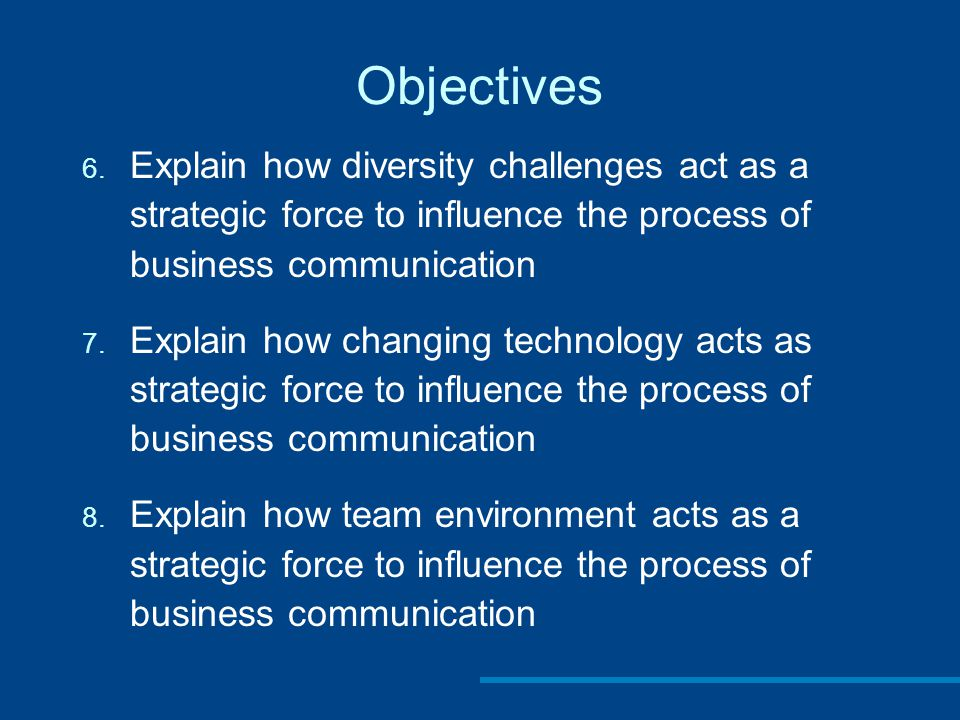 Objectives Explain how diversity challenges act as a strategic force to influence the process of business communication.