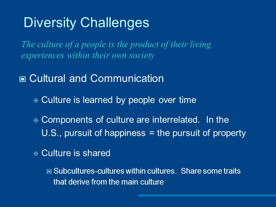 Diversity Challenges Cultural and Communication