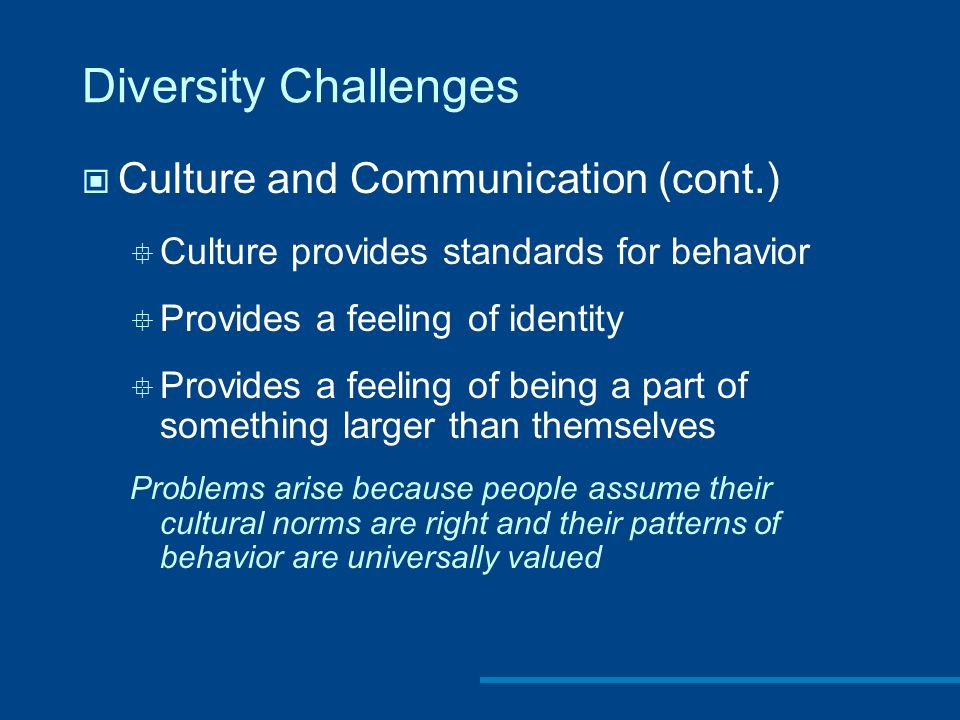 Diversity Challenges Culture and Communication (cont.)