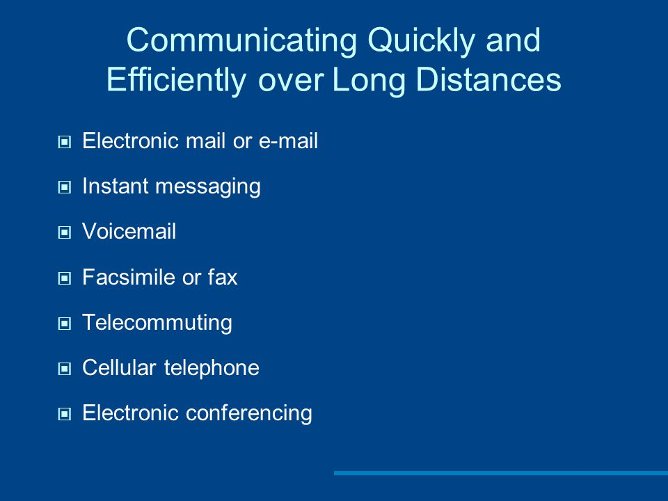 Communicating Quickly and Efficiently over Long Distances