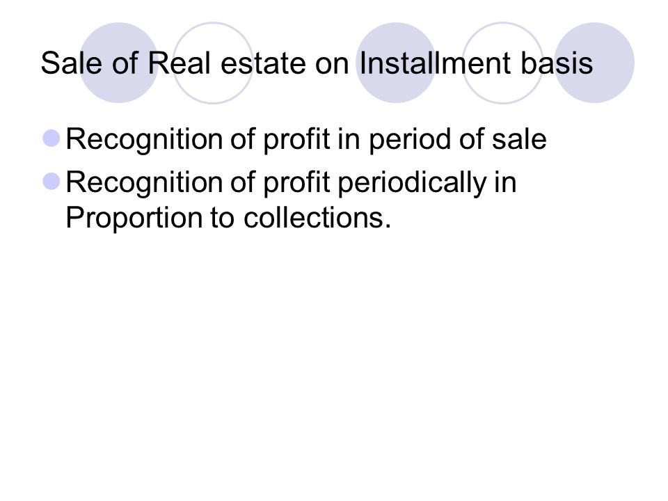 Sale of Real estate on Installment basis