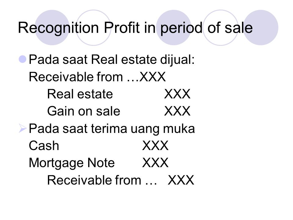 Recognition Profit in period of sale