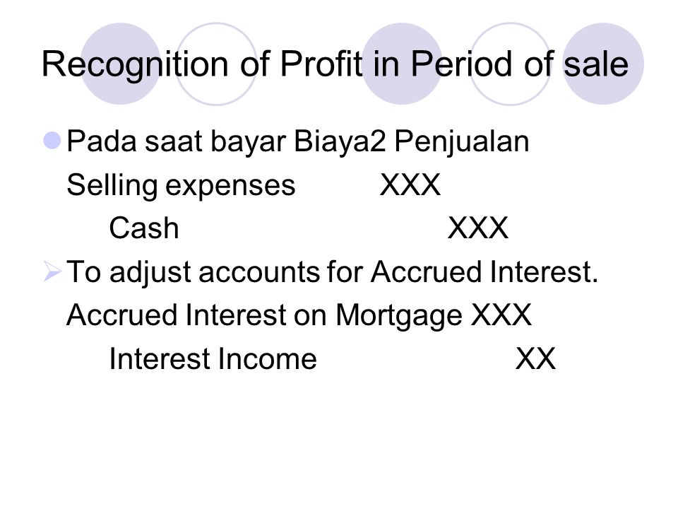 Recognition of Profit in Period of sale