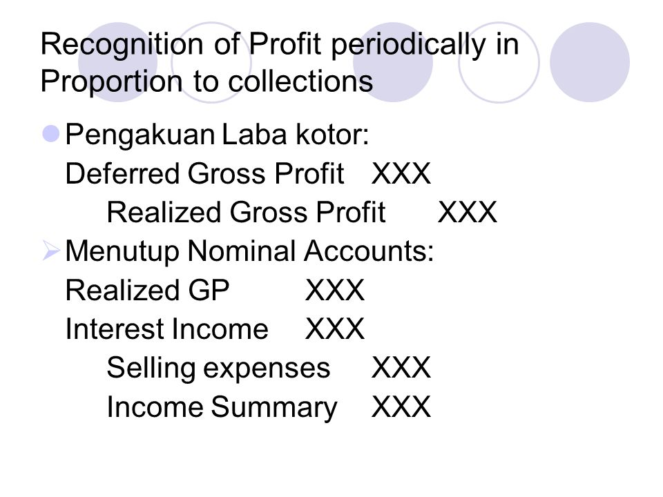 Recognition of Profit periodically in Proportion to collections