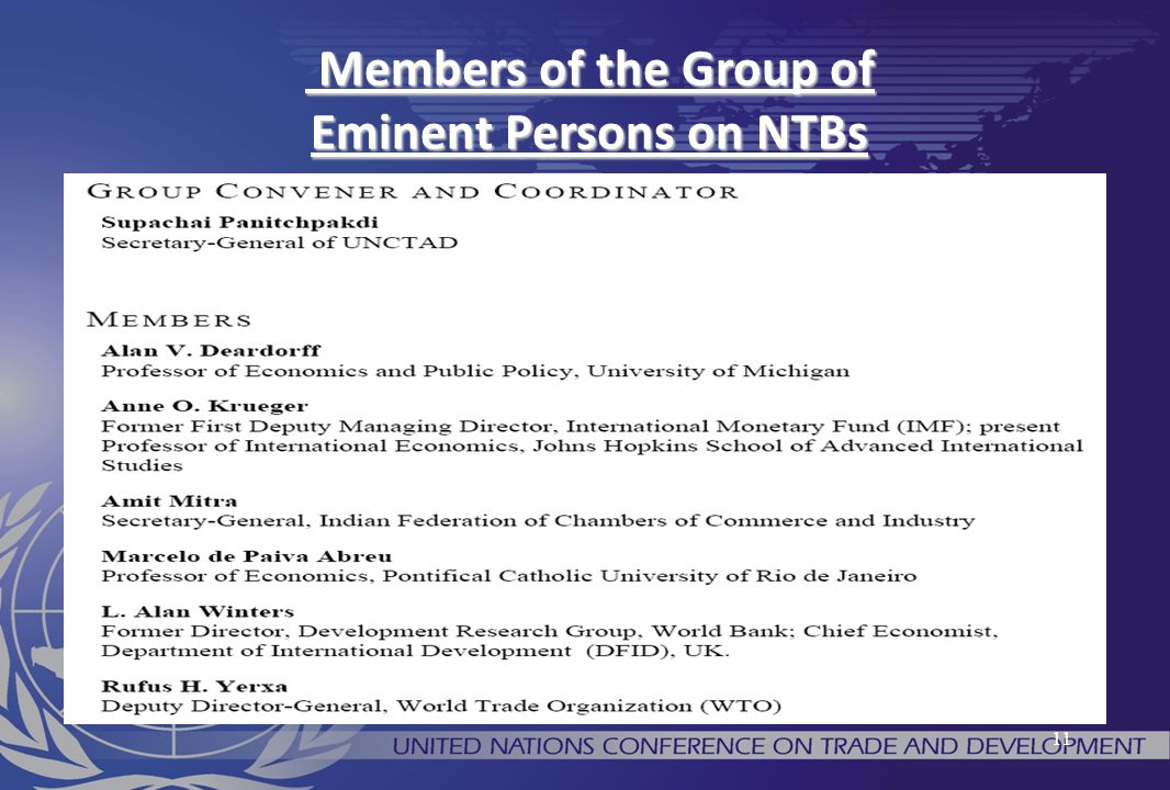Members of the Group of Eminent Persons on NTBs