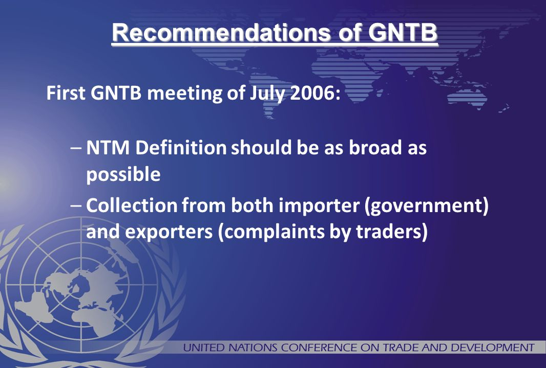 Recommendations of GNTB