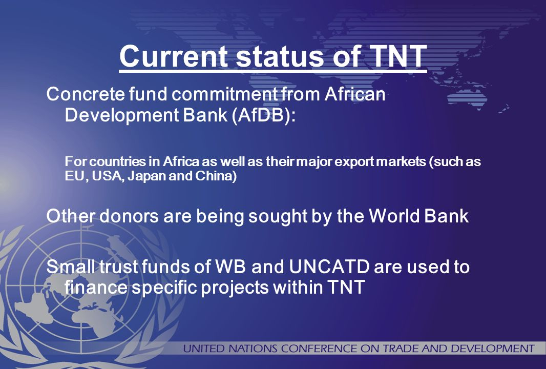 Current status of TNT Concrete fund commitment from African Development Bank (AfDB):