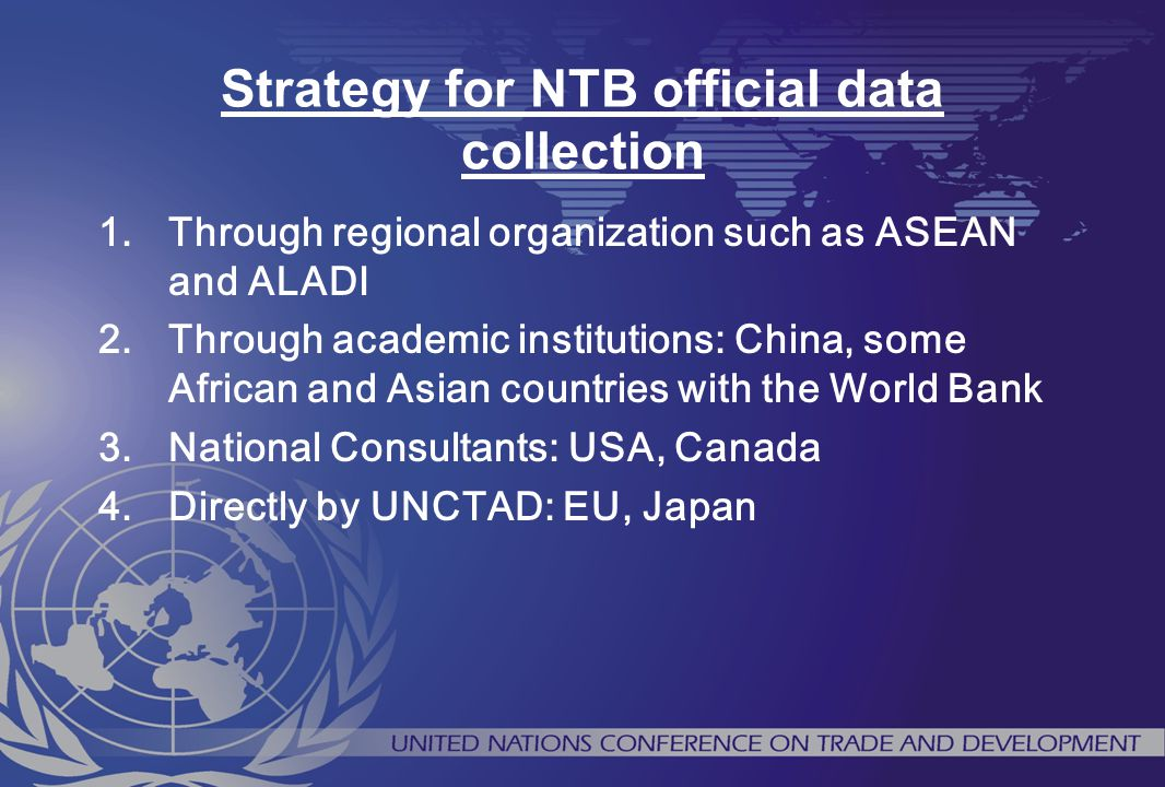 Strategy for NTB official data collection