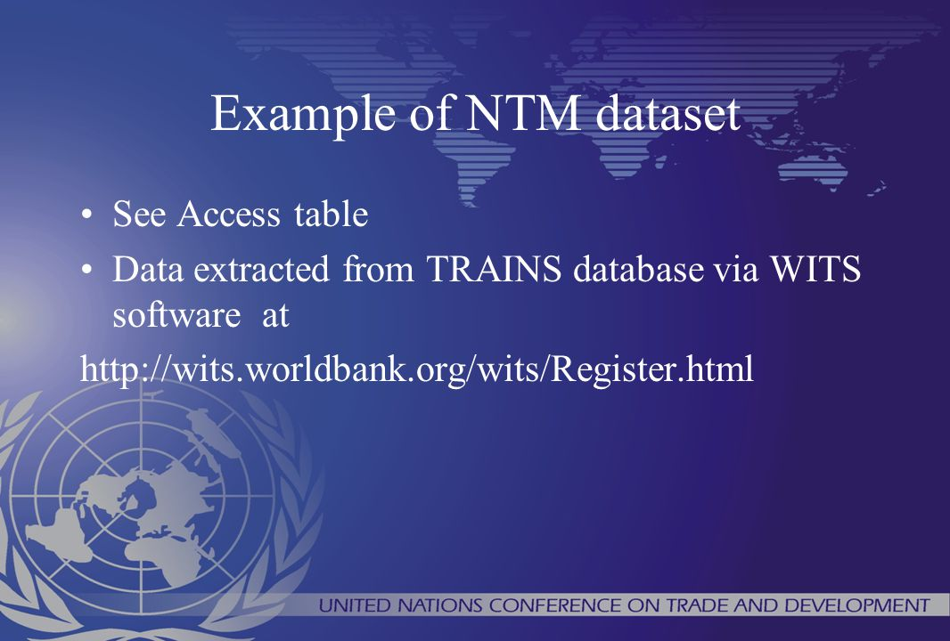 Example of NTM dataset See Access table