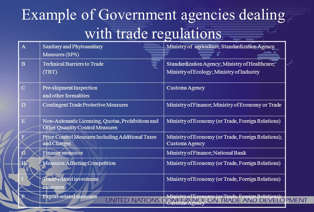 Example of Government agencies dealing with trade regulations