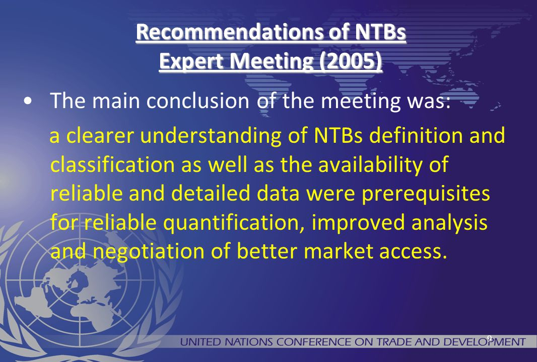 Recommendations of NTBs Expert Meeting (2005)