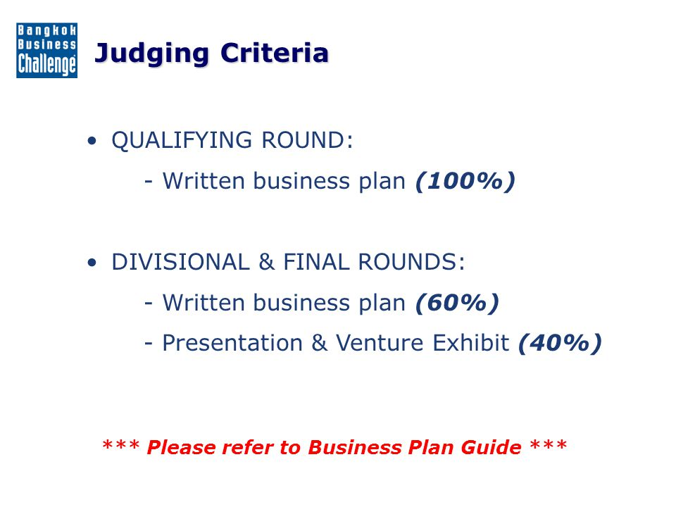 Judging Criteria QUALIFYING ROUND: - Written business plan (100%)