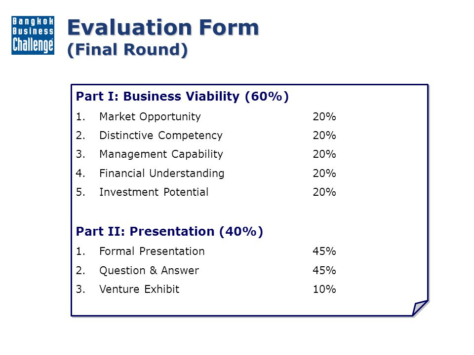 Evaluation Form (Final Round)