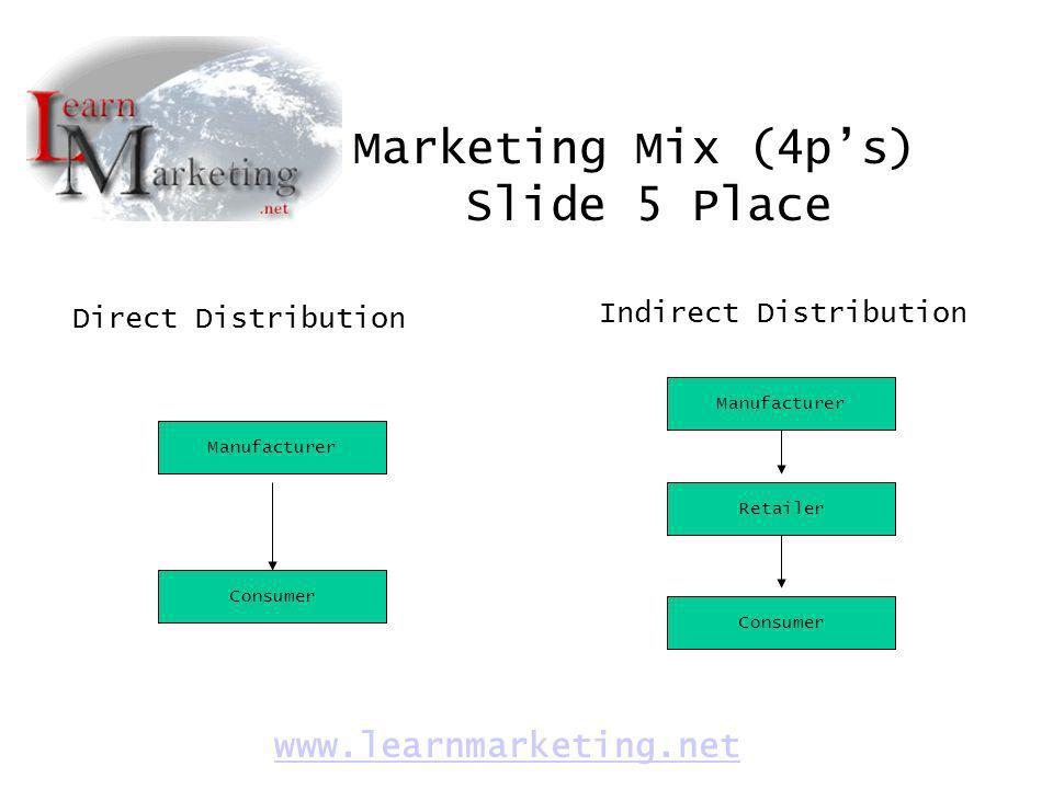 Marketing Mix (4p's) Slide 5 Place www.learnmarketing.net