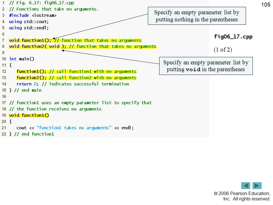 Outline Specify an empty parameter list by putting nothing in the parentheses. fig06_17.cpp. (1 of 2)