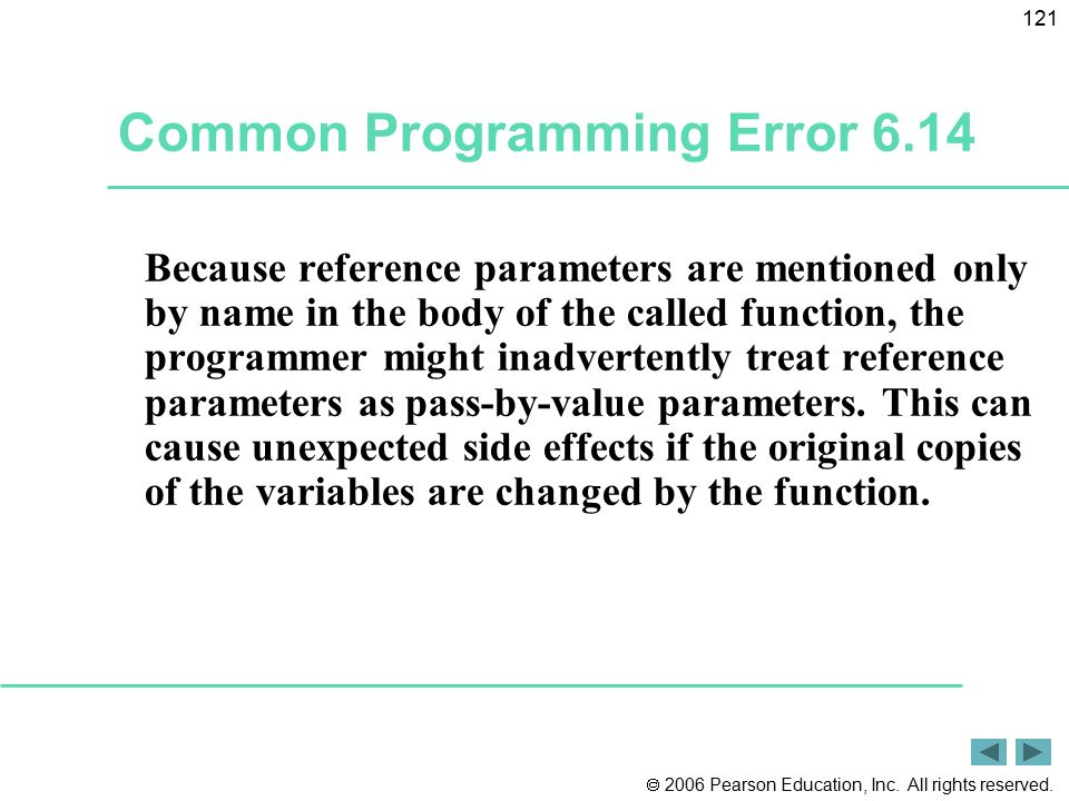 Common Programming Error 6.14