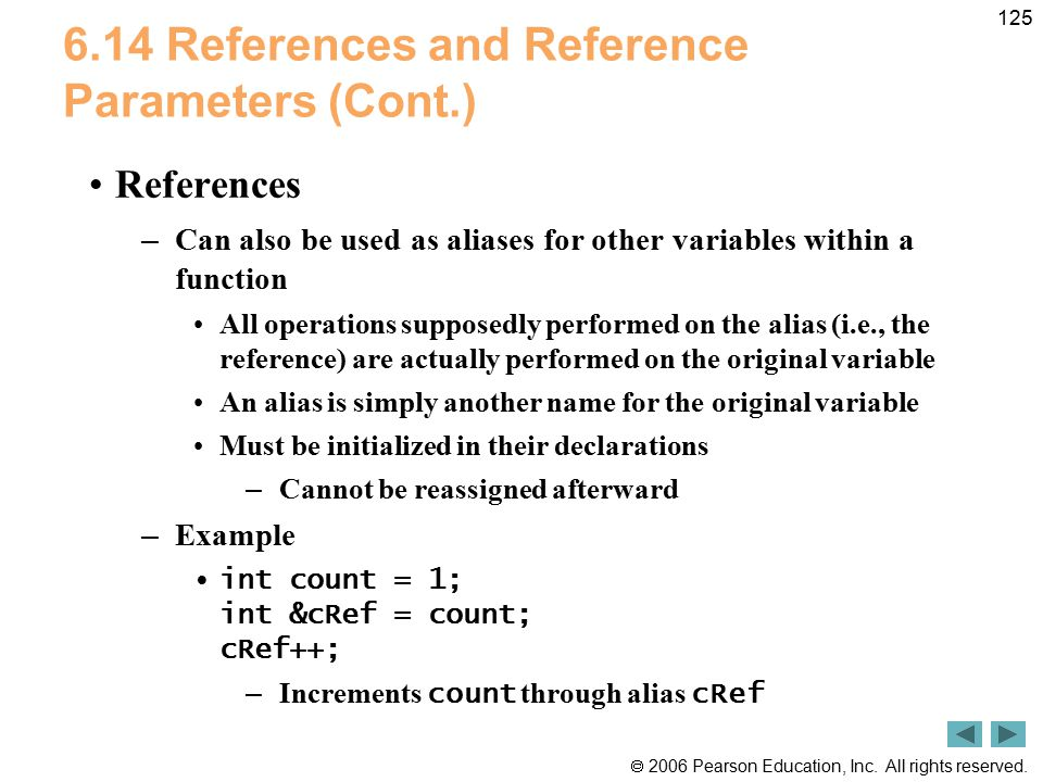 6.14 References and Reference Parameters (Cont.)