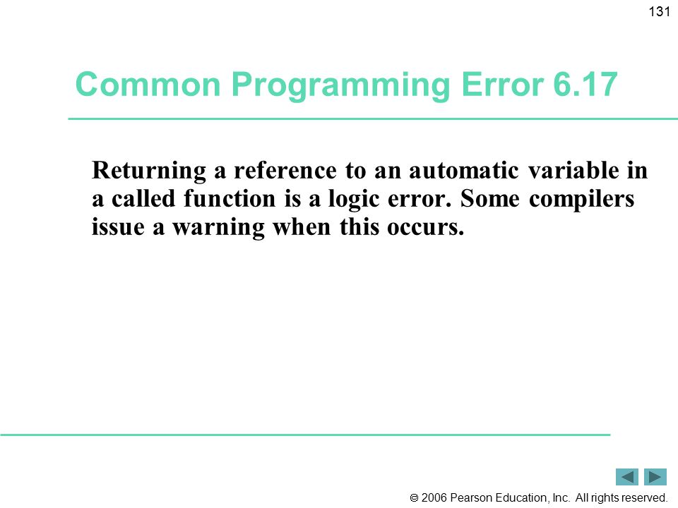 Common Programming Error 6.17